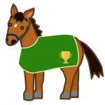 馬着を着用したかわいい馬のイラスト